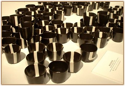 Black & white cups, prize winner, Mino International Ceramic Competition