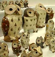 Wheel-thrown owls by Kenji Sugiura