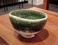 Green chawan by Koie Ryoji