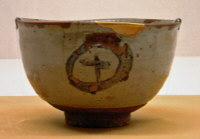 E-garatsu Chawan  with Circle & Cross Design