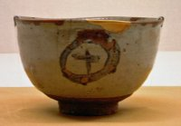 E-garatsu chawan with circle-and-cross design